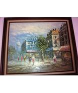 framed vintage painting impressionist burnet 29w x 25h - $94.05