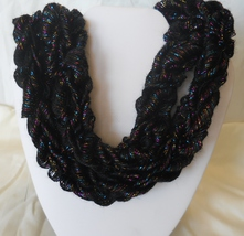 Hand - Knitted Ribbon Yarn Skinny Scarf Necklace  Item #107, #114 Black ... - $20.00