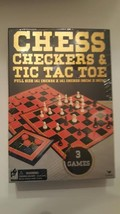 Chess Checkers and Tic Tac Toe Cardinal Classic Games in Gold Foil Box ... - $19.43