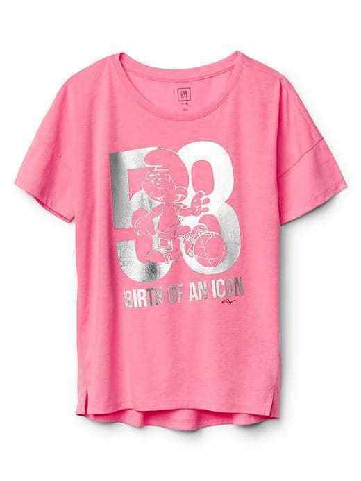 Primary image for Gap Kids Girls Tee Shirt 6 7 8 Pink Silver Smurf Graphic Cotton Short Sleeve New