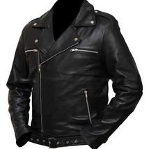 Negan Walking Dead S7 Jeffrey Dean Morgan Black Leather Jacket image 3