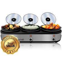 MegaChef Triple 2.5 Quart Slow Cooker and Buffet Server in Brushed Silve... - £72.73 GBP