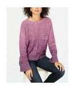 $59.50 Style & Co Braided-Trim Marled Sweater,  Dark Grape Combo, M - $15.49