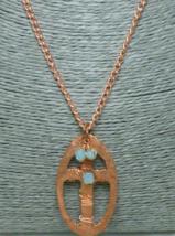 Copper Metal Hammered Cross Oval Pendant Blue Swarovski Crystals - $29.00