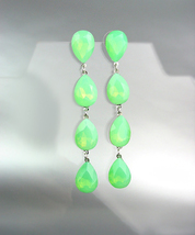 GLITZY Green Opal Czech Crystals Chandelier Pageant Prom Bridal Earrings 4320L  - £20.51 GBP