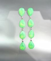 GLITZY Green Opal Czech Crystals Chandelier Pageant Prom Bridal Earrings... - £20.87 GBP