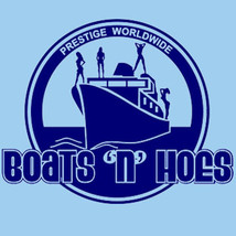 Boats 'N Hoes T-shirt movie Step Brothers Prestige Worldwide cotton blue tee image 2