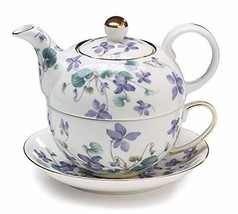 Teapot Tea For One Duo Teapot And Teacup Lavender Violets 15 Oz Total - $41.34