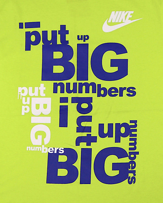 NIKE Big Numbers T-Shirt sz L Large Cyber Green Volt Blue Max Zero Roshe TR