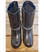 Harley Davidson Motorcycles Size 8.5 Claudia Chain Motorcycle Leather Boots - $64.59