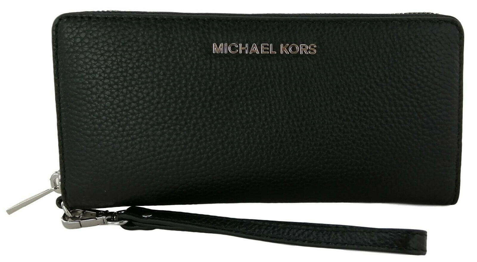 Primary image for Michael Kors Purse Wallet Wristlet Zip Around Black Large Pebbled Leather