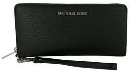 Michael Kors Purse Wallet Wristlet Zip Around Black Large Pebbled Leather - $214.04