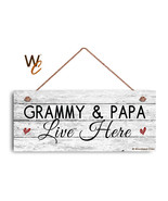 Grammy and Papa Live Here Sign, Rustic Weathered 6x14 Sign, Grandparent ... - $17.33