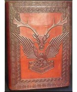 240 page Dual Cover Stag/ Thor Hammer leather blank book w/ latch - $59.99