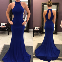 Halter Neck Mermaid Taffeta Prom Dresses Floor Length Women Party Formal Gowns - $179.00