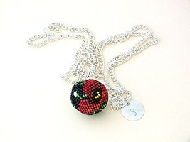 Bead Crochet Ball Pendant with Red Poppy Print and Personalized Initial ... - $15.00