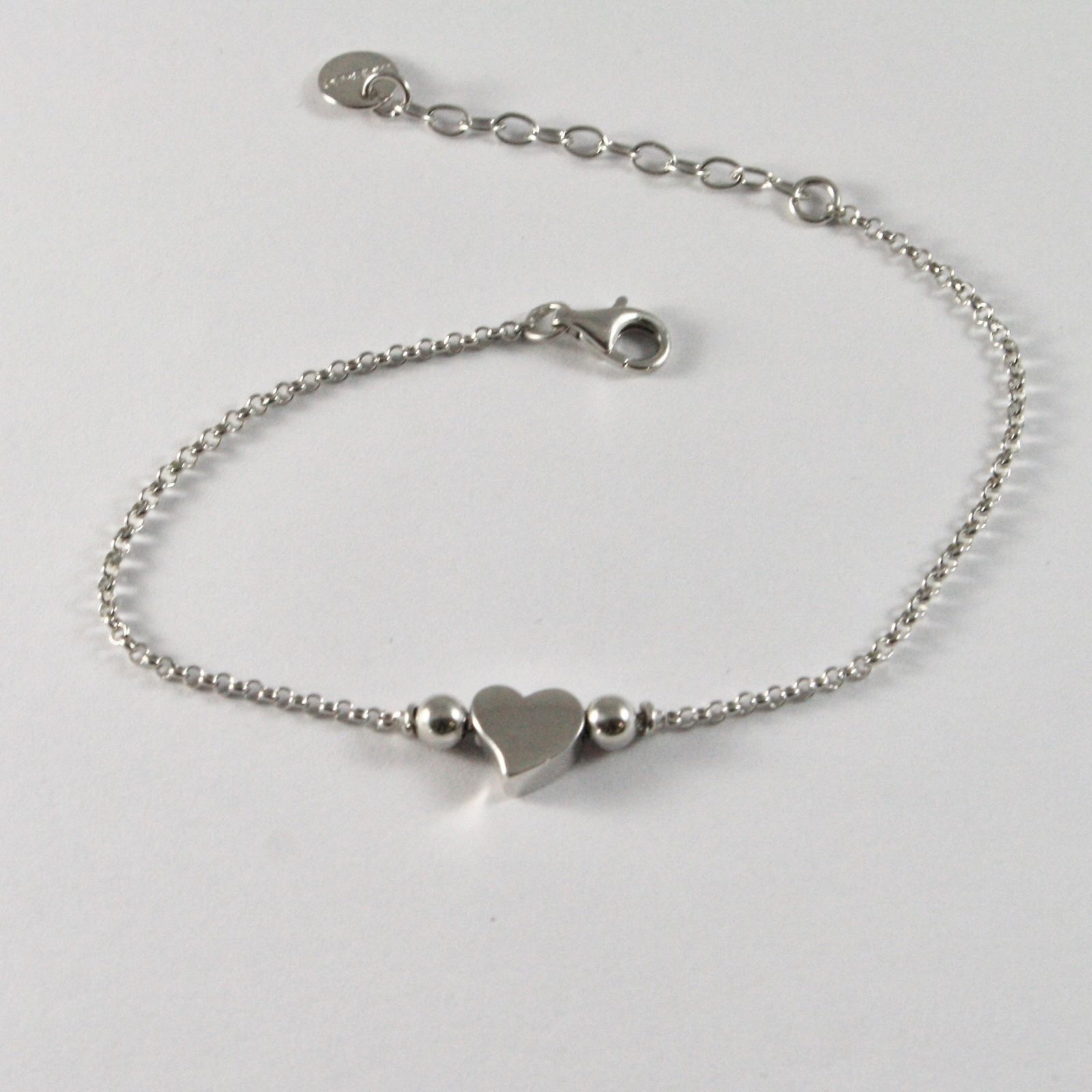 SILVER 925 BRACELET JACK&CO WITH HEART LOVE STYLIZED POLISHED JCB0816