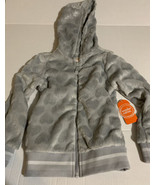 Wonder Nation Girls Plush Full-Zip Jacket w/Hood Gray Silver Flowers X-S... - $14.54