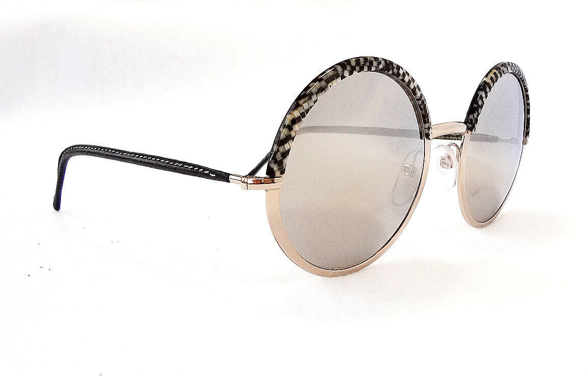 Cutler & Gross Women's Sunglasses 1070 MOZB-ZBGR Round Metal/Leather ITALY - New