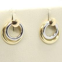 Pendientes Oro Amarillo Blanco 750 18K, Doble Círculo, Overlaid, Hecho e... - $146.41