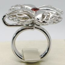 925 STERLING SILVER RING WITH WORKED BIG FOUR LEAF CLOVER BY MARIA IELPO image 4