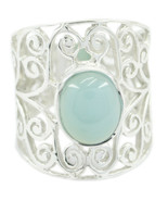 gift for anniversary Natural Chalcedony Blue Gemstone 925 Silver Ring UK SZ H-Z - $35.99