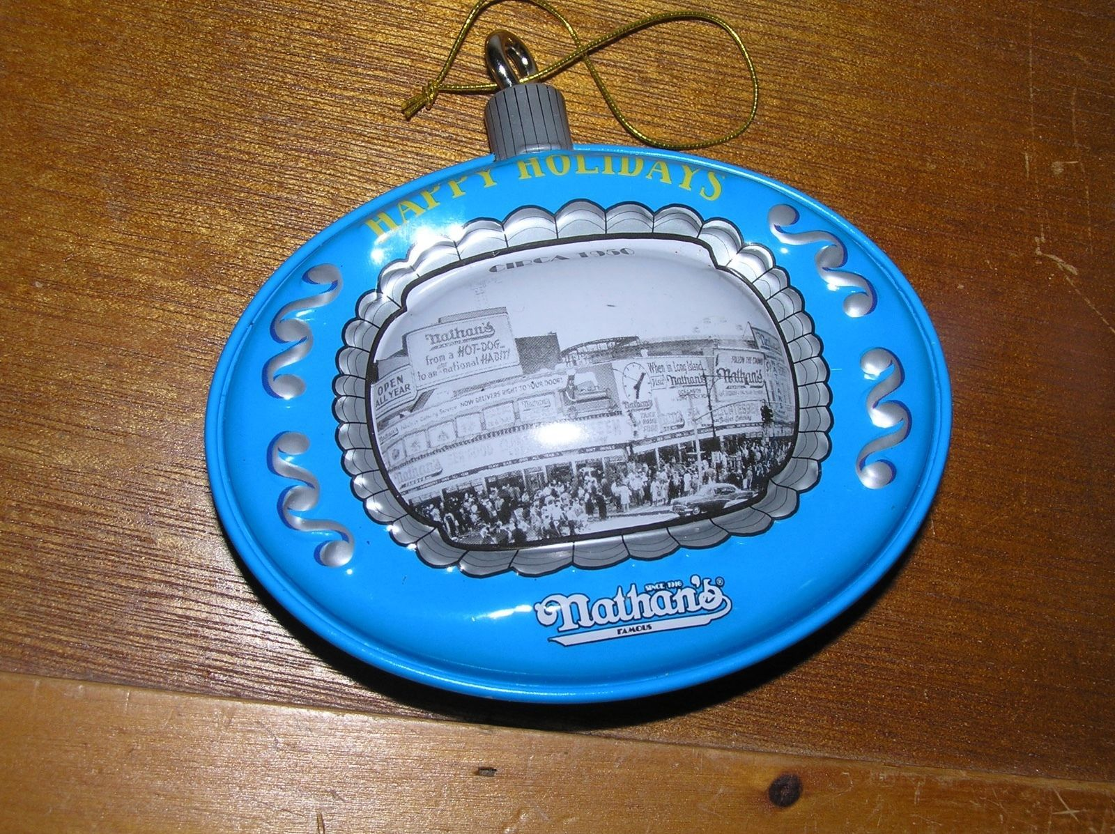 Vintage Reproduction Blue & Gray Tin Metal NATHAN'S in Chicago Christmas Tree