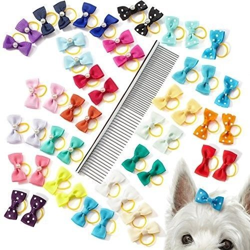 Dog Hair Bows And Dog Comb For Shedding - 50 Dog Bows For Small Dogs Hair In - - $27.89