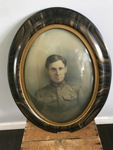 Antique WWI Military US Soldier Framed B&W Photo Oval Convex Glass Portr... - $96.74