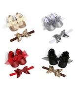 Newborn Baby Girl Anti-Slip Princess Shoes+Headband Soft Sole Crib Lace ... - $10.39