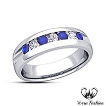 Women's Wedding Band Ring White Gold Plated 925 Pure Silver CZ & Blue Sa... - ₨5,020.11 INR