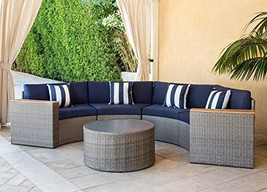 SOLAURA Outdoor 5-Piece Sectional Furniture Patio Half-Moon Set Gray Sof... - £756.37 GBP