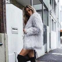 Women's High Street Long Sleeve Fluffy Faux Fur Coat image 2