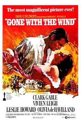 Gone with the wind movie poster 27x40 classic vertical
