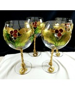Decorated in Italy Clear Crystal Gold Hollyberry Wine goblet stemware lo... - $118.80
