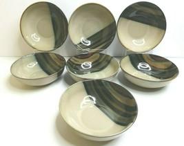 "7 Sango Avanti Black 4721 Stoneware 7 5/8"" Brown Beige Soup Cereal Salad... - $59.07"