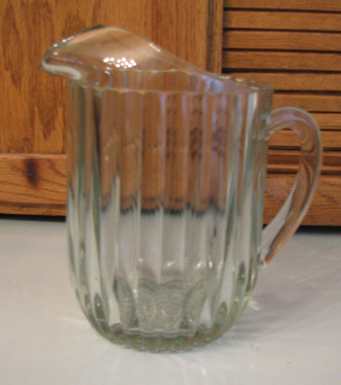 Clear Glass Water Pitcher w Ice Lip Restaurant Style HEAVY Vintage