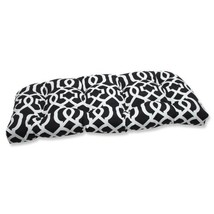 Pillow Perfect Outdoor New Geo Wicker Loveseat Cushion, Black/White - £38.81 GBP