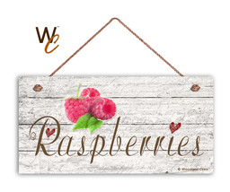 "Raspberries Sign, Rustic Style Garden Sign,  5"" x 10"" Wood  Fruit Kitche... - $11.39"