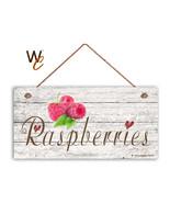 "Raspberries Sign, Rustic Style Garden Sign,  5"" x 10"" Wood  Fruit Kitche... - $11.39"
