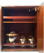 Wooden Bar Wall Cabinet SAUZA Tequila 1873 Ice Bucket 4 Glasses Antique Set - $632.61