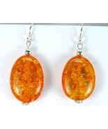 Honey Baltic Amber Pancake Ovals Sterling Silve... - $50.88