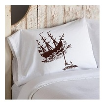 One Brown Clipper Ship Boat w/ Anchor Ocean Beach Nautical Standard Pillowcase - $15.98