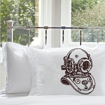 One Brown Deep Sea Diver Standard Nautical Pillow Case Cover - $15.98