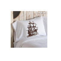 One Brown Sail Boat Clipper Ship Standard Pillowcase pillow cover case - $15.98