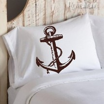 One Brown Ship Anchor Ocean Beach Nautical Standard Pillowcase - $15.98