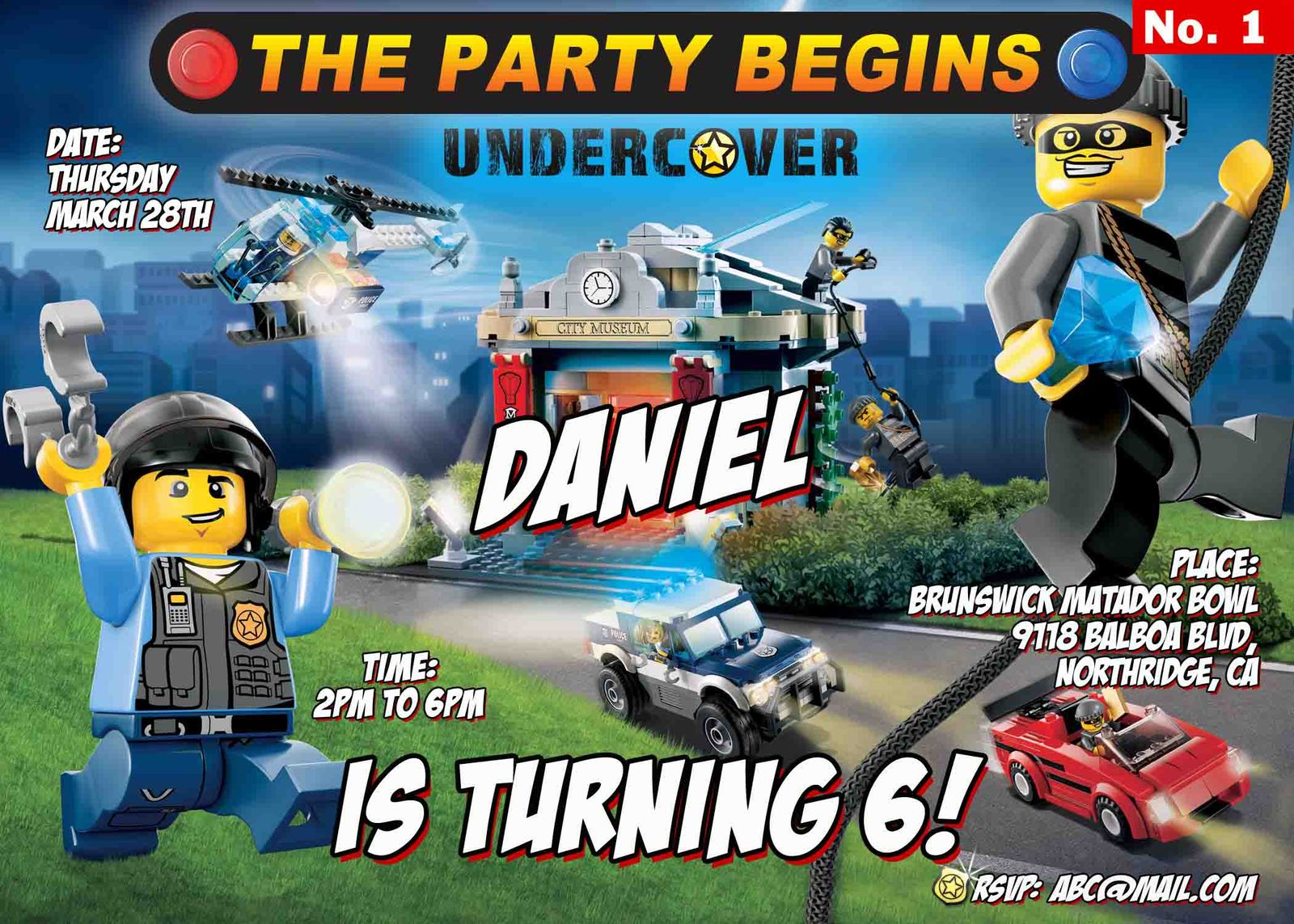 Lego City Birthday InvitationsDigital Jpeg and 50 similar items – Lego City Birthday Invitations
