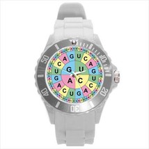 GENETIC DNA SCIENCE WATCH 8 COLORS WHT BLK GRAY BRN PUR, PINK GRN YELLOW - $23.99