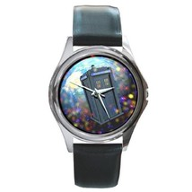 DR. WHO DOCTOR WHO TARDIS SILVER-TONE WATCH LEATHER BAND - $25.99