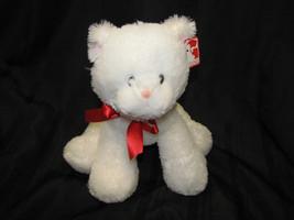 G BY GUND STUFFED PLUSH WHITE KITTY CAT KITTEN RED BOW RIBBON 4060558 13... - $42.56